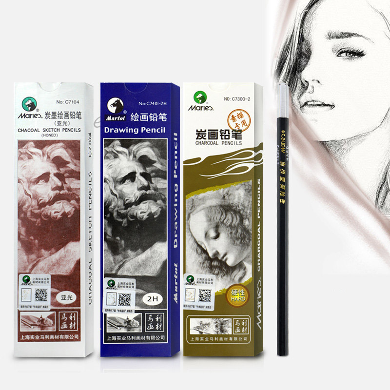 12 Pieces/Set Pencil 14B Matt 12B Sketch Painting Charcoal Sketch Pencil Soft Hard Drawing Charcoal Art Supplies