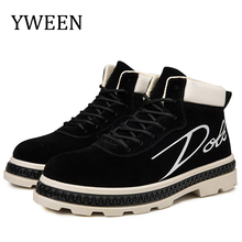 YWEEN Newest Mens Boots Lace-Up Casual Ankle Man Fashion Leather Mid-Carf Shoes