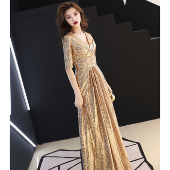 3446acdea Sparkly Sequins Long Dress Women Host Evening Party Wear Female Singer  Dresses Prom Birthday Celebrate Outfit Dance Costumes DJ