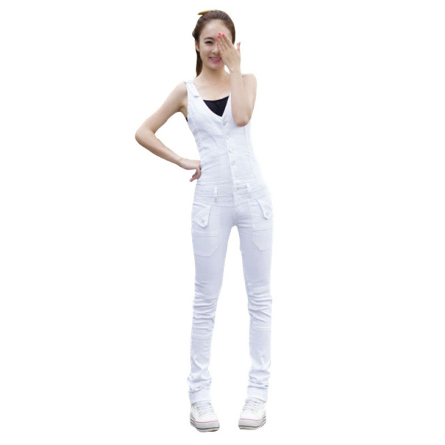 59e913ee159 Denim Jumpsuit 2017 Korean Style Fashion Pocket Womens White Jeans Jumpsuit  Girls Casual Sleeveless Denim Overalls Women