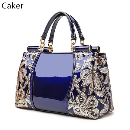 Caker 2017 Women Large Big Sequined Handbags Leather Shoulder Bags Lady Casual Totes Bag Fashion High Quality Messenger Bags caker brand women large pu casual totes lady patchwork handbags vintage shoulder bags female panelled jumbo messenger bags
