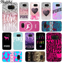 Fulcol Pink victoria secret background Transparent fashion hard Case Cover for Samsung Galaxy S4 S5 S6 S7 S8 S9 Mini Edge Plus(China)