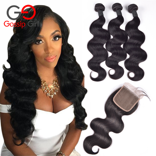 Brazilian Body Wave With Closure 3 Bundles With Closure 7A Brazilian Virgin Hair With Closure Human Hair Extensions With Closure
