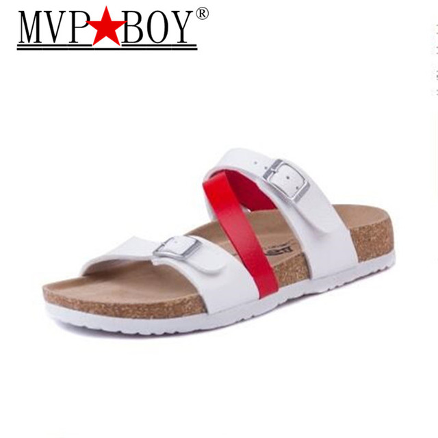 Mvp Boy Print Woman Cork Slippers Sandals 2018 New Summer Women Patchwork  Beach Slides Double Buckle Flip Flops Shoe 1aaa082f3bda