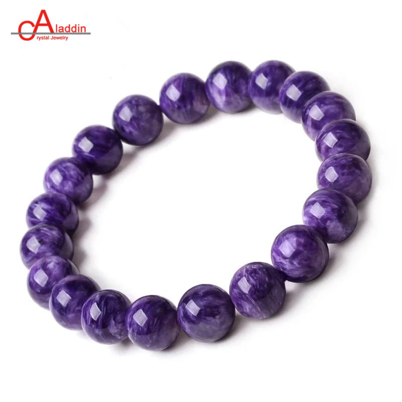 Aladdin Natural Charoite Bracelet Purple Crystal Stone Noble Mysterious Ethnic Beads Bangle New Arrival mysterious green head heart bracelet
