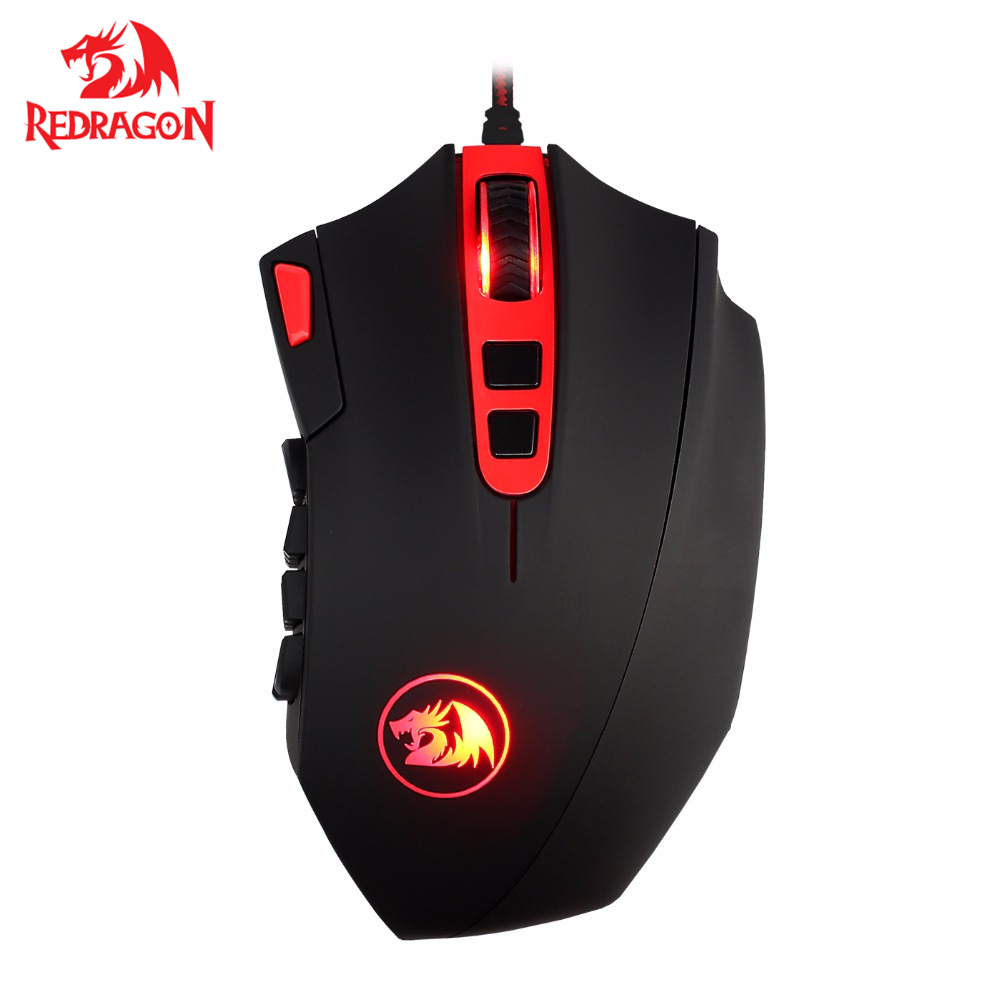 Programmable MMO RGB LED Mice 24000 DPI Redragon M901 Gaming Mouse Wired