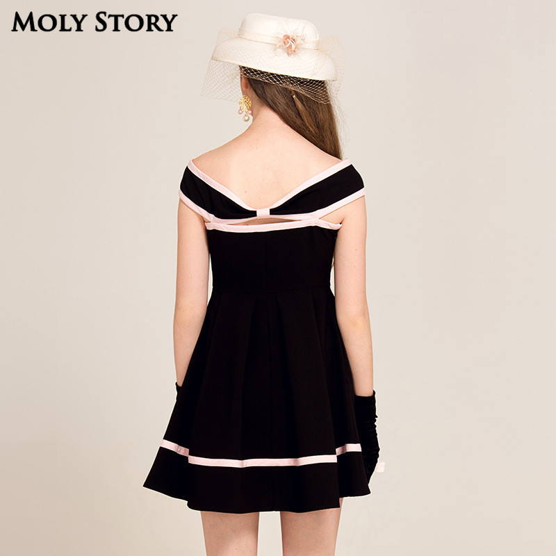 Super! Elegant Ladies Little Black Patchwork Dress Strapless Party - Women's Clothing - Photo 3