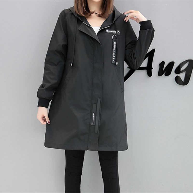 Trençkot Bayan 2018 Bahar Sonbahar Hoodies üst Artı boyutu Ince Öğrenci Beyzbol kıyafetleri Orta uzunlukta Rüzgarlık Palto A1934