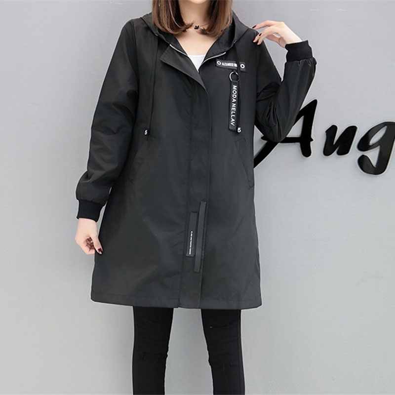 Trench coat Womens 2018 Spring Autumn Hoodies top Plus size Slim Students Baseball clothes Medium length