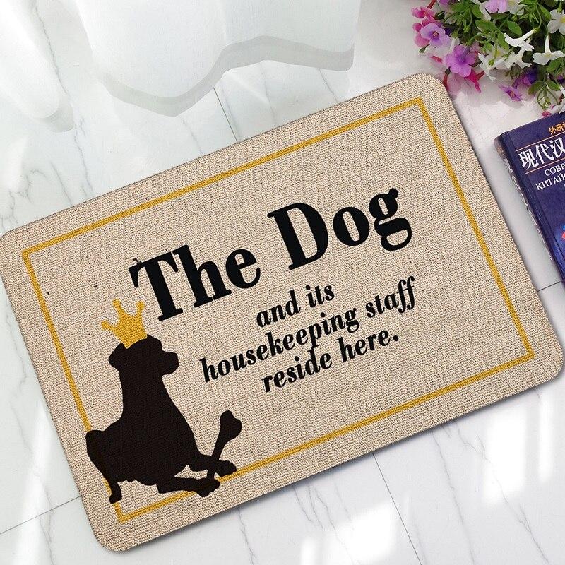 Doormat Entrance Floor Mat Funny Doormat Welcome Dog Paws Love Door Mat Home Decorative Indoor Outdoor Doormat Non-Woven Fabric Top