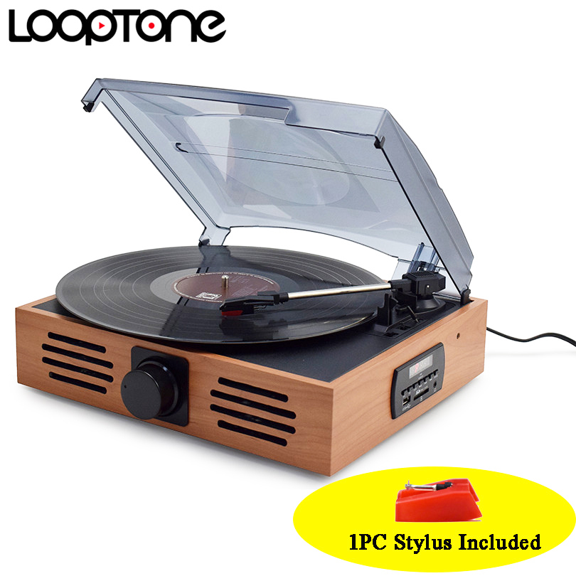 LoopTone 33/45/78 Speed USB Turntable Players Vinyl LP Record Player w/ FM Radio Earphone Jack 45 RPM Adaptor AC110~130&220~240V