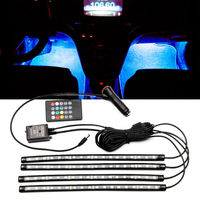 4pcs Flexible Car Styling RGB LED Strip Light Atmosphere Decorative Neon Lamp Car Interior Light With