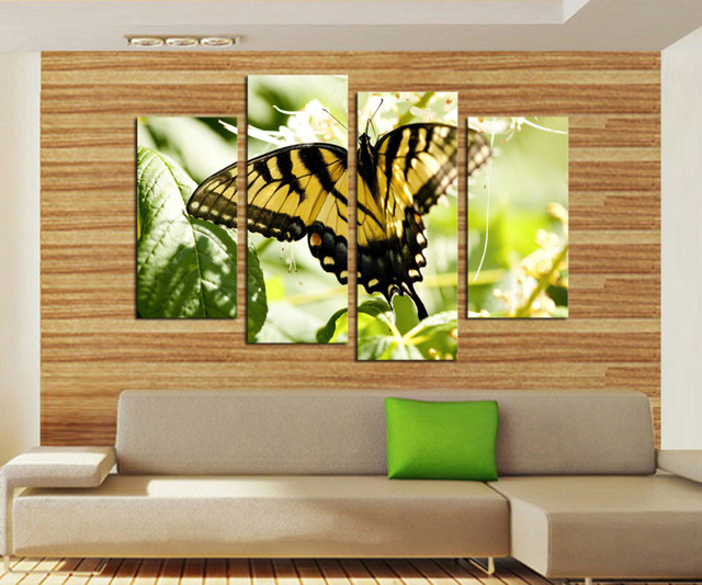 Unframed 4 Panels Yellow Black Butterfly Flowers Canvas Print ...