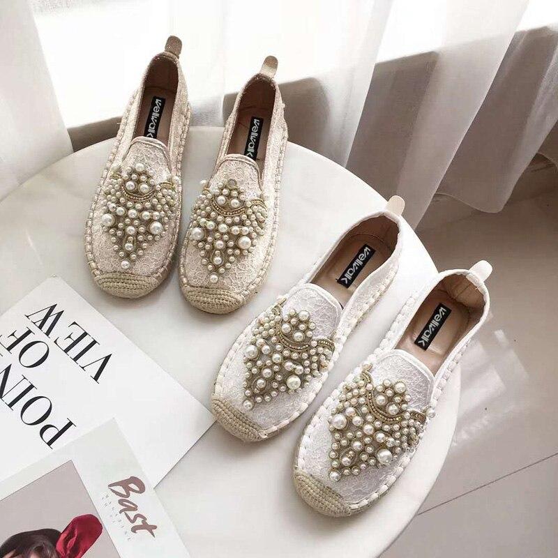 Wellwalk Mocassins chaussures pour femmes 2018 Mode Espadrilles Dames Mocassins Chaussures Femmes Cristaux mocassins femme Printemps Automne Creepers