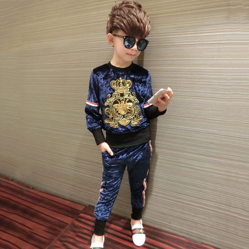 2 sets of boy suit small crown velvet sweater girl boy suit baby warm pullover children sequin costume suit 2-7ages