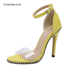 TTSDARCUPSNew Italian Roman style comfortable transparent rivet personality sandals Sexy Night Club Pumps Ankle-Wrap shose women