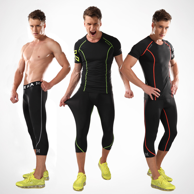 690e3e5b24e69 High Quality Summer Gym Training Basketball Tshirt Fitness Clothes Men  Track Running Shirt + Compression tights Running Set