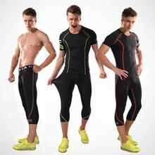 High Quality Summer Gym Training Basketball Tshirt Fitness Clothes Men Track Running Shirt + Compression tights Running Set
