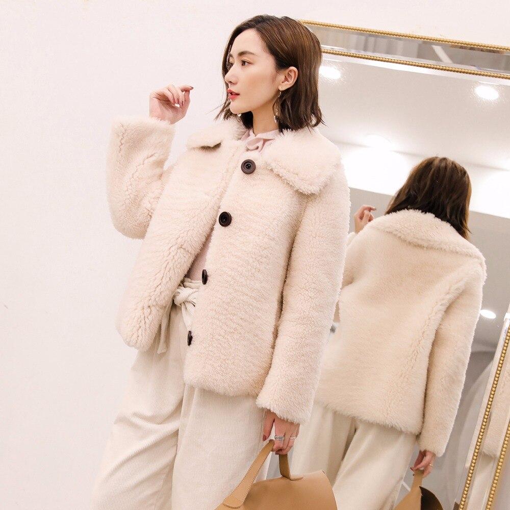 Phoenix 71107c Mode D'hiver Qualité Fourrure Nouveau Mouton Peau Manteau Épais En Bonne De Femmes Cisaillement Court Conçu Veste Chaud Beige 8nkOP0wX