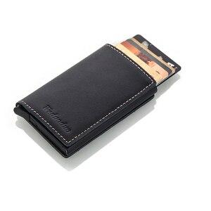 Image 2 - Weduoduo erkekler hakiki deri kartlık RFID Metal kredi kartı tutucu Anti theft erkekler cüzdan otomatik Pop Up kart kılıfı