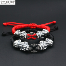 100% 999 Silver Fengshui Wealth Pixiu Beaded Bracelet Pure Silver Lucky Animal Beaded Bracelet Good Luck Braided Bracelet handmade 999 silver dragon bracelet pure silver power dragon beads bracelet good luck bracelet