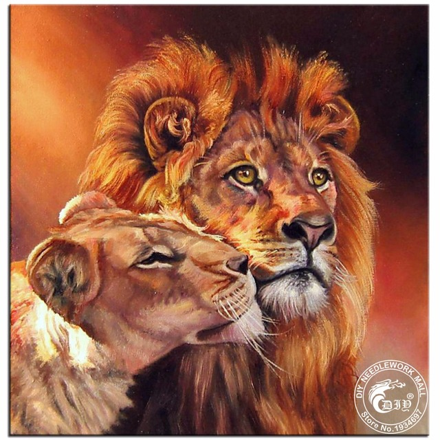 DIY 5D Diamond Painting Cross Stitch Kits Lion King U0026 Queen Home Decor 100%  Round