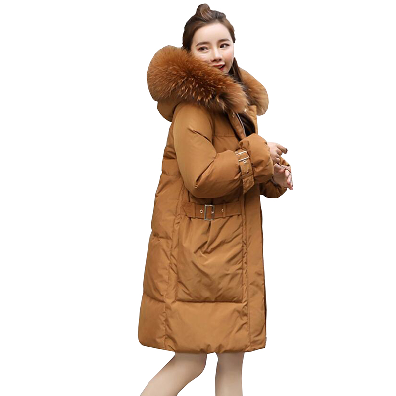 2018 Women Winter White Duck   Down   Jackets Loose   Coat   Medium Long Hooded   Down     Coat   Real Raccoon Fur Collar Thicken Outerwear