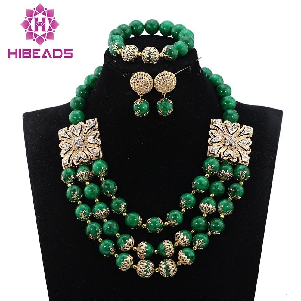 2017 Valentine Cadeau Nouvelle Marine Vert De Mariée Perles Indien Ensembles de Bijoux De Mode Africaine Femmes Bijoux Set Livraison Gratuite ABH315