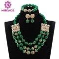 Presente Dos Namorados 2017 New Navy Verde Beads Nupcial Indiano Conjuntos de Jóias de Moda Africano Conjunto de Jóias Mulheres Frete Grátis ABH315
