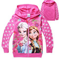 Baby Girls Spring Frozen Hoodies Girl's 100% Cotton Hooded Sweatshirt Girl 3D Printer Coat New Fashion 2017 F26
