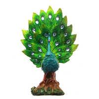 1 pezzo Orgoglioso Uccello Splendido Pavone Variopinto Con La Piuma Fuori Statua Elegante Del Pavone Dell'annata Tavolo Scultura Statuetta In Resina di trasporto