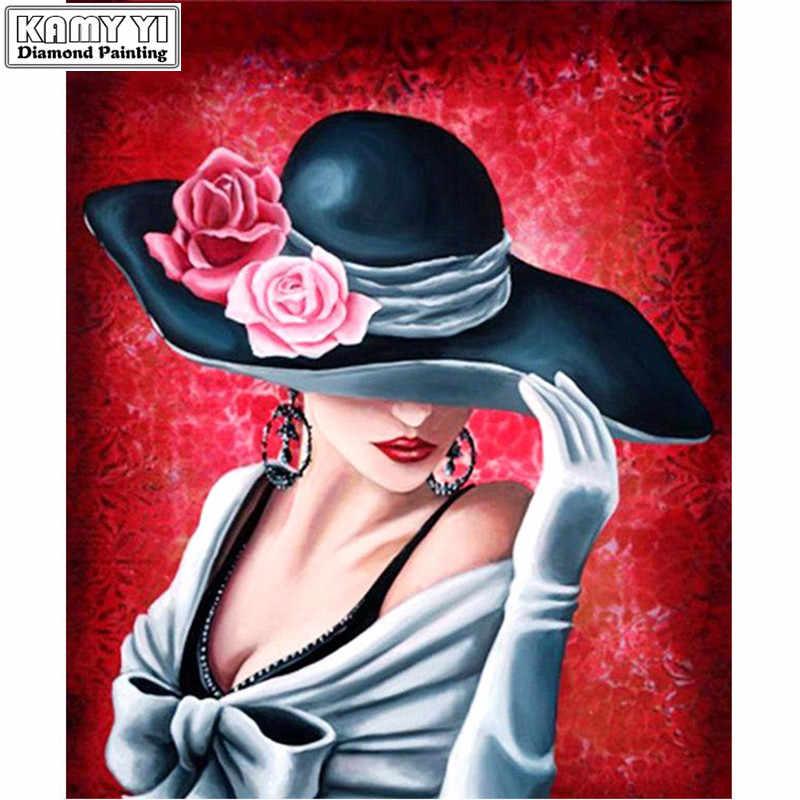 เย็บปักถักร้อยเพชร 5D DIY เพชรภาพวาดข้ามตะเข็บ Mosaic หมวกผู้หญิง handmade บ้านตกแต่งภาพวาด LK1