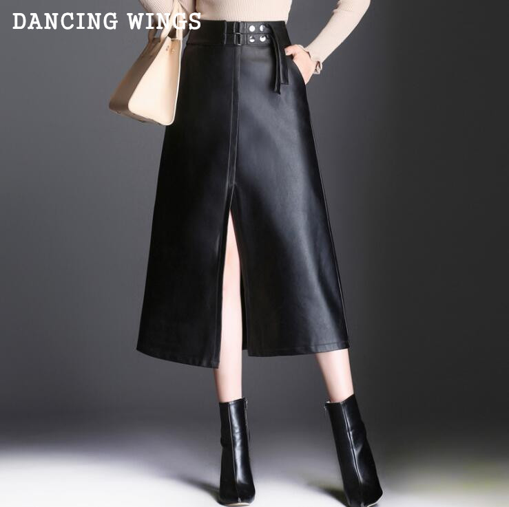 Automne hiver taille haute longue jupe femmes Sexy Split PU jupes en cuir tempérament Slim a-ligne jupes