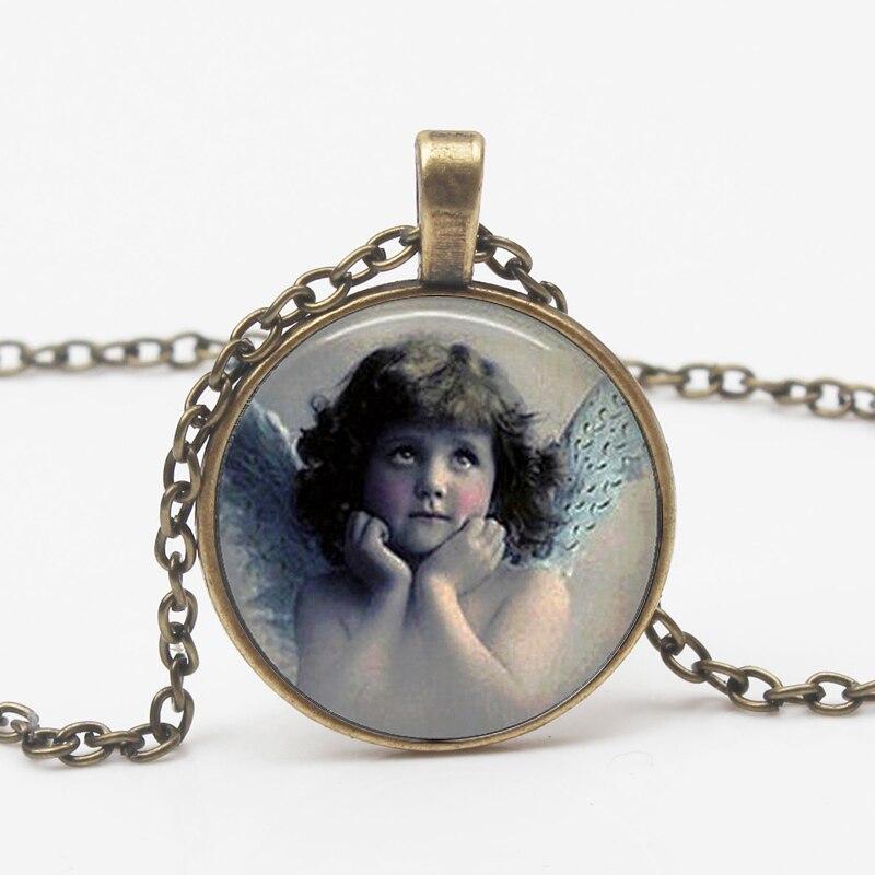Vintage ANGEL Fashion Glass Pendant Necklace Guardian Angel Christian Catholic Pendant Necklace Religious Souvenir Long Chain