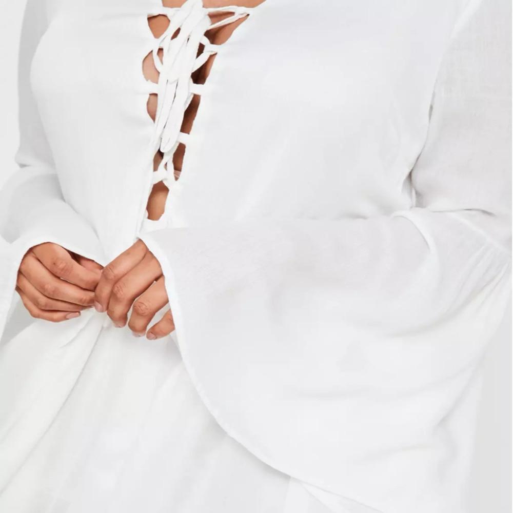 8cbc4330a02 Plus size white flare sleeve mini dress for women simple ruffle hem flare  sleeve dress ladies oversized OL office work dresses-in Dresses from Women s  ...