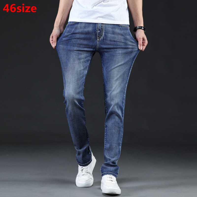 Summer New Thin Men's Jeans Summer Stretch Slim Light Blue Straight Large Size Mid-rise Jeans 46