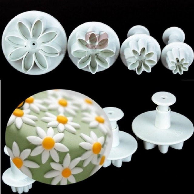 4pcs Set Sunflower Plunger Daisy Flower Cookie Cake Decorating Tools Cupcake Kitchen Fondant Accessories Mold Stand