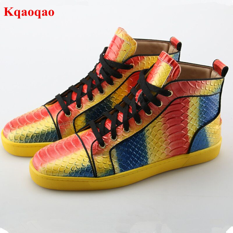 Snake Patter Mixed Color High Top Men Casual Shoes Round Toe Lace Up Fashion Calzado Hombre Comfortable Leisure Male Shoes new fashion high top casual shoes for men pu leather lace up red white black color mens casual shoes men high top shoes red