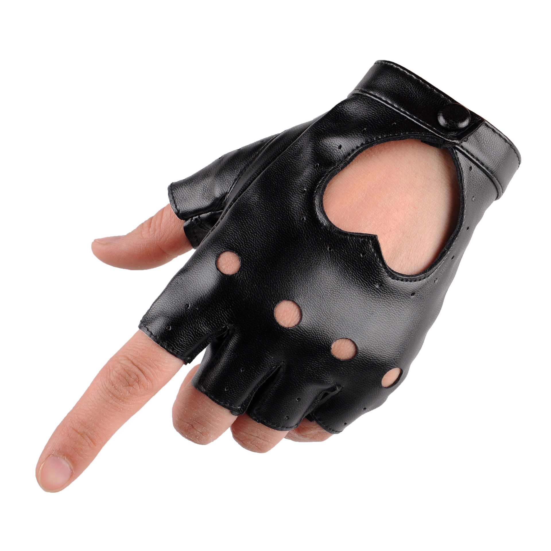 Ladies leather cycling gloves - Sunscreen Half Finger Gloves Lady Pu Leather Outdoor Cycling Stage Performance Love Gloves Adult Driving