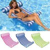 Outdoor Inflatable Floating Chair With Inflator Folding Striped Float Lounger Water Floating Bed Chair Swimming Pool Party Toy