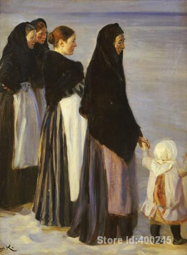 Oil painting beach scene The Departure Of The Fishing Fleet Details Peder Severin Kroyer artwork on canvas Handmade High Quality