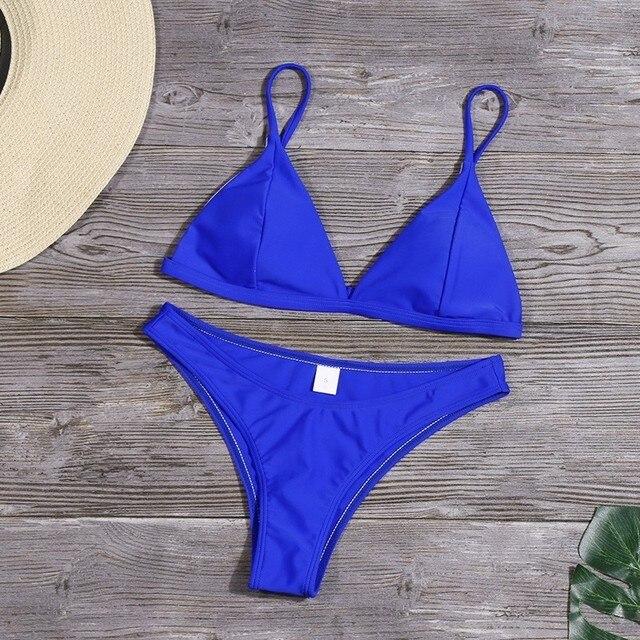 Sexy Solid Bikini Set Women Triangle Swimwear New Low Waist Bathing Suit Summer Beach Wear Female Red Swimsuit Biquini 6