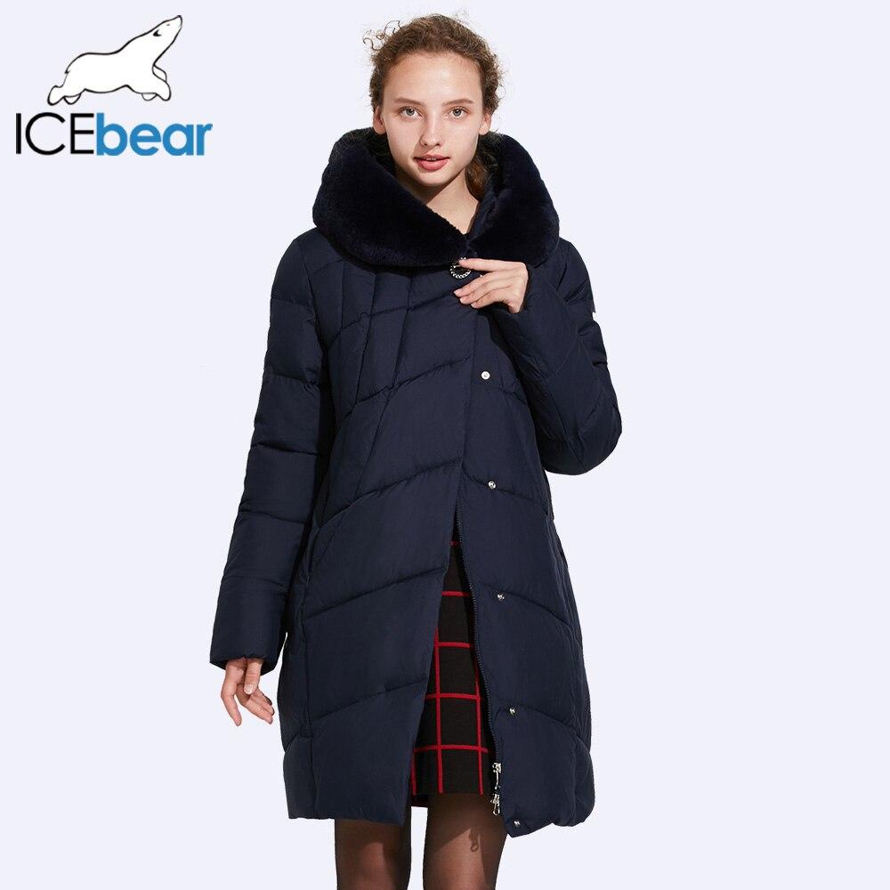 ICEbear 2017 Lisse Col De Fourrure Hiver Coton Veste Avec Haute Qualité Boucles Grand Quilting Ligne Coupe-Vent Parka 17G6159