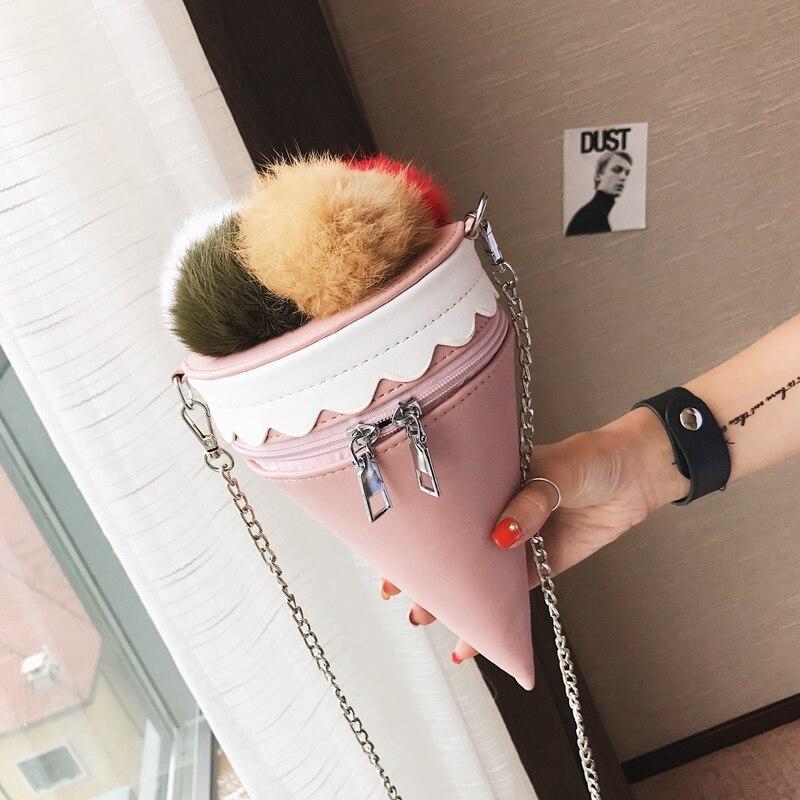 New PU Leather Mini Icecream Chain Bag Packet Women Messenger Bags Cute Women Shoulder Bag Women Handbag Cheap