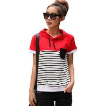 New Arrival Cotton striped t-shirt female short-sleeved hooded T-shirts Women's Causal Summer tops for women t-shirts clothing