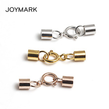 Купить с кэшбэком 5x7mm 2mm Hole High Quality 925 Sterling Silver Round Ending Caps Spring Clasps Connectors For DIY Leather Bracelet SC-CZ075A