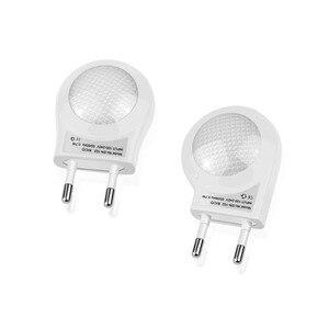 Image 1 - Mini Cute LED Socket Night light EU Plug Sensor auto on/off Wall lamp 110V 240V LED light Baby Kids Bedroom home night lighting