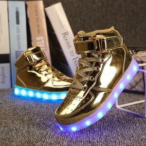 Image 2 - Size 25 37 Light Shoes Kids for Girls Boys Led Shoes Luminous Sneakers Light Up Children Tenis Led Slippers USB Recharging