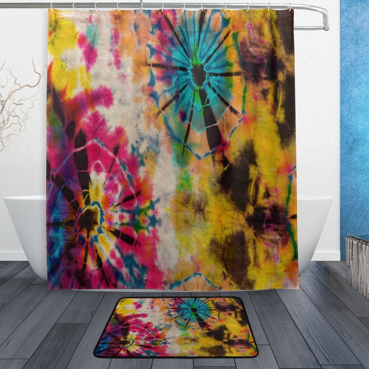 Tie Dye Shower Curtain And Mat Set Tribal Ethnic Waterproof Fabric Bathroom