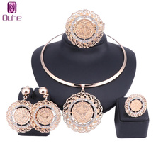 Fashion Dubai Gold Color Crystal Jewelry Sets Costume Big Design Pendant Necklace Nigerian For Wedding African Beads Jewelry Set luxury dubai jewelry sets women crystal gold wedding accessories flower necklace wedding african beads jewelry set costume